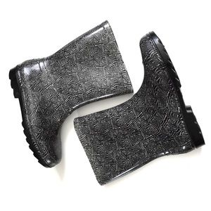 """TOMS Black White """"Cabrilla"""" Rain Boots 5Y ~ 6.5-7"""